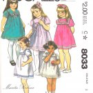McCall's Sewing Pattern 8033 Girls' Size 3 Classic Square Yoke Gathered Dress Collar Options