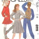 McCall's Sewing Pattern 8111 Juniors Size 7/8 Pullover Knit Top Pants Pleated Skirt
