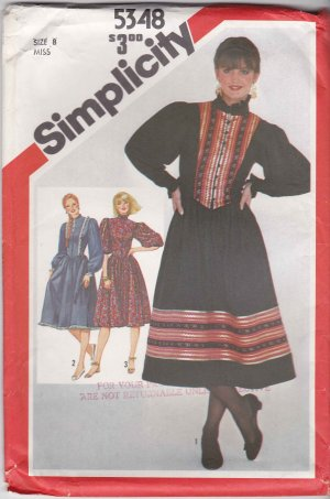 Simplicity Sewing Pattern 5348 Misses Size 8 Pullover Trimmed Embellished Fitted Dress