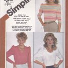 Simplicity Sewing Pattern 5378 Misses Size 10-14 Pullover Knit Tops Sleeve Neckline Options