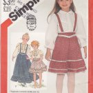 Simplicity Sewing Pattern 5628 Girls Size 3 Gunne Sax Blouse Full Skirt Removable Suspenders