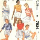 McCall's Sewing Pattern 7924 Misses Size 10-12 Knit Pullover Top Bateau Collar Sleeve Options