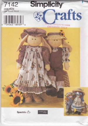 Simplicity Sewing Pattern 7142 Soft Stuffed Rag Doll Bunny Clothes Dress Overalls Hat