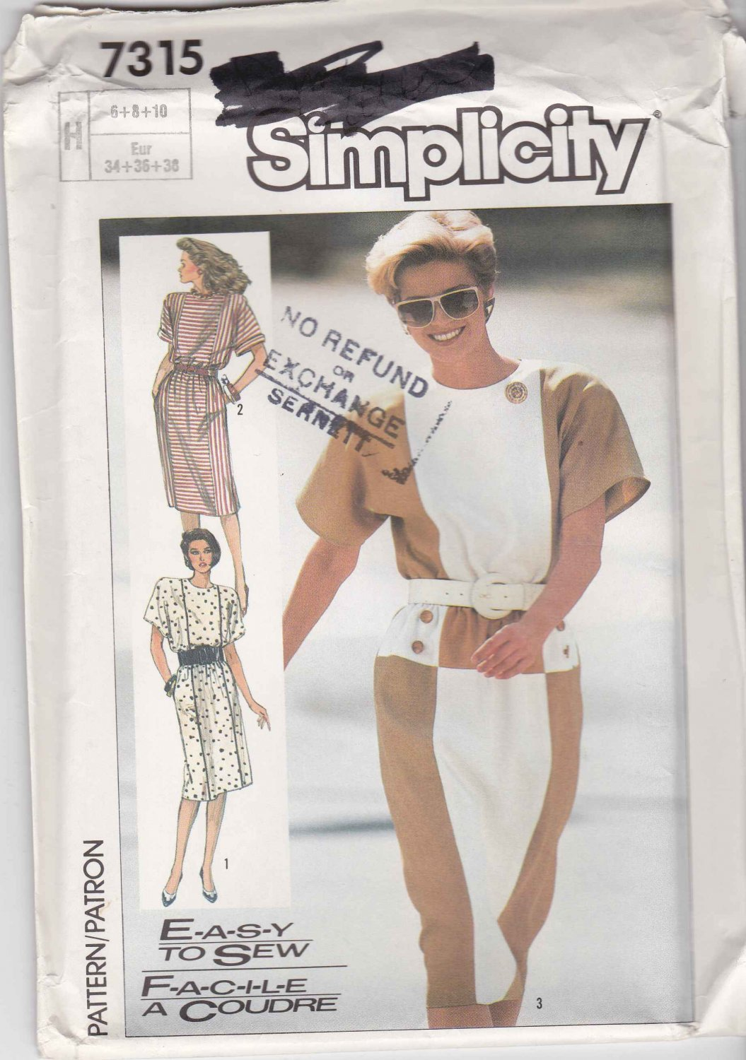 Simplicity Sewing Pattern 7315 Misses Size 6-10 Easy Color Blocked Contrast Straight Dress
