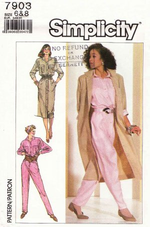Simplicity Sewing Pattern 7903 Misses Size 6-8 Jumpsuit Button Front Dress Coatdress Duster