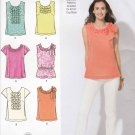 Simplicity Sewing Pattern 2599 Misses Size 4-12 Summer Pullover Tops Sleeve Trim Ruffle Options