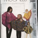 McCall's Sewing Pattern 3307 Girls Size 3-6 Hooded Pullover Ponchos Pull on Long Pants