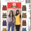 McCall's Sewing Pattern 2914 Misses Size 12-14 Easy Zipper Front Outdoor Vests