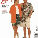 "McCall's Sewing Pattern 2736 Misses Mens Unisex Chest Size 42-48"" Easy Button Front Shirt Shorts"