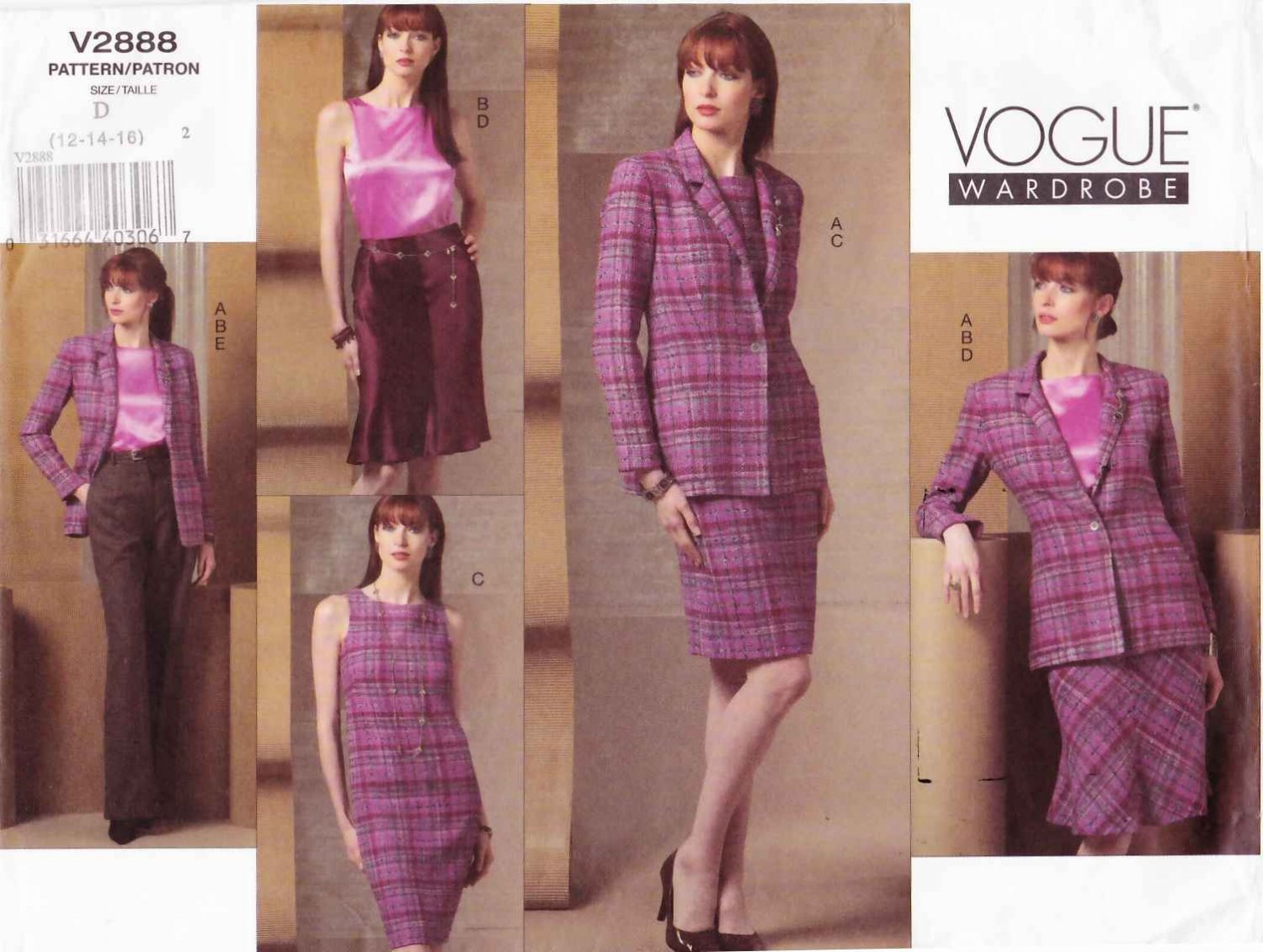 Vogue Sewing Pattern 2888 Misses Size 18-20-22 Easy Wardrobe Skirt Dress Jacket Pants Top