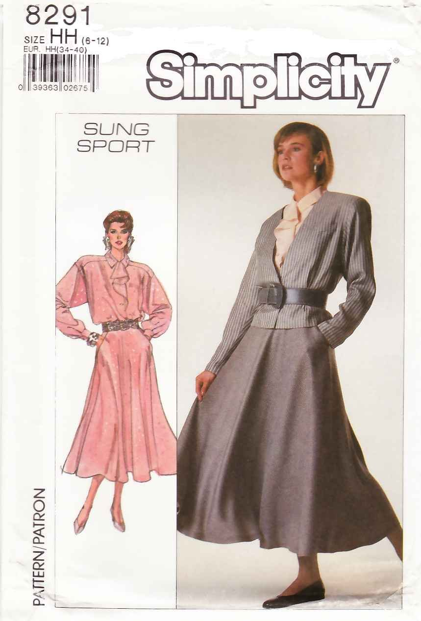 Simplicity Sewing Pattern 8291 Misses Size 6-12 Sung Sport ...