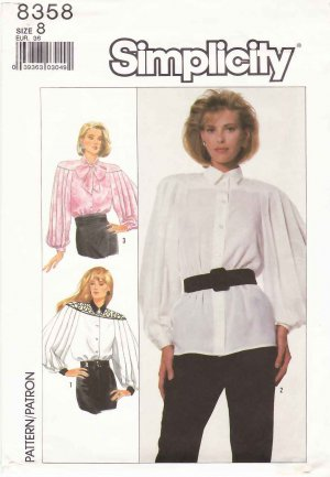 Simplicity Sewing Pattern 8358 Misses Size 8 Button Front Pleated Long Sleeve Blouse Bow