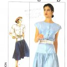 Simplicity Sewing Pattern 8616 Misses Size 6-10 Front Button Bodice Dropped Waist Skirt Dress