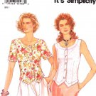 Simplicity Sewing Pattern 9012 Misses Size 8-18 Easy Button Front Top Short Sleeve Sleeveless