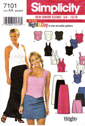 Simplicity Sewing Pattern 7101 Juniors Size 3/4-9/10 Summer Evening Casual Skirts Tops