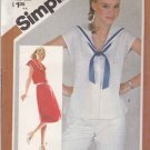 Simplicity Sewing Pattern 5482 Misses Size 12 Pullover Button Front Dress Top Sailor Collar