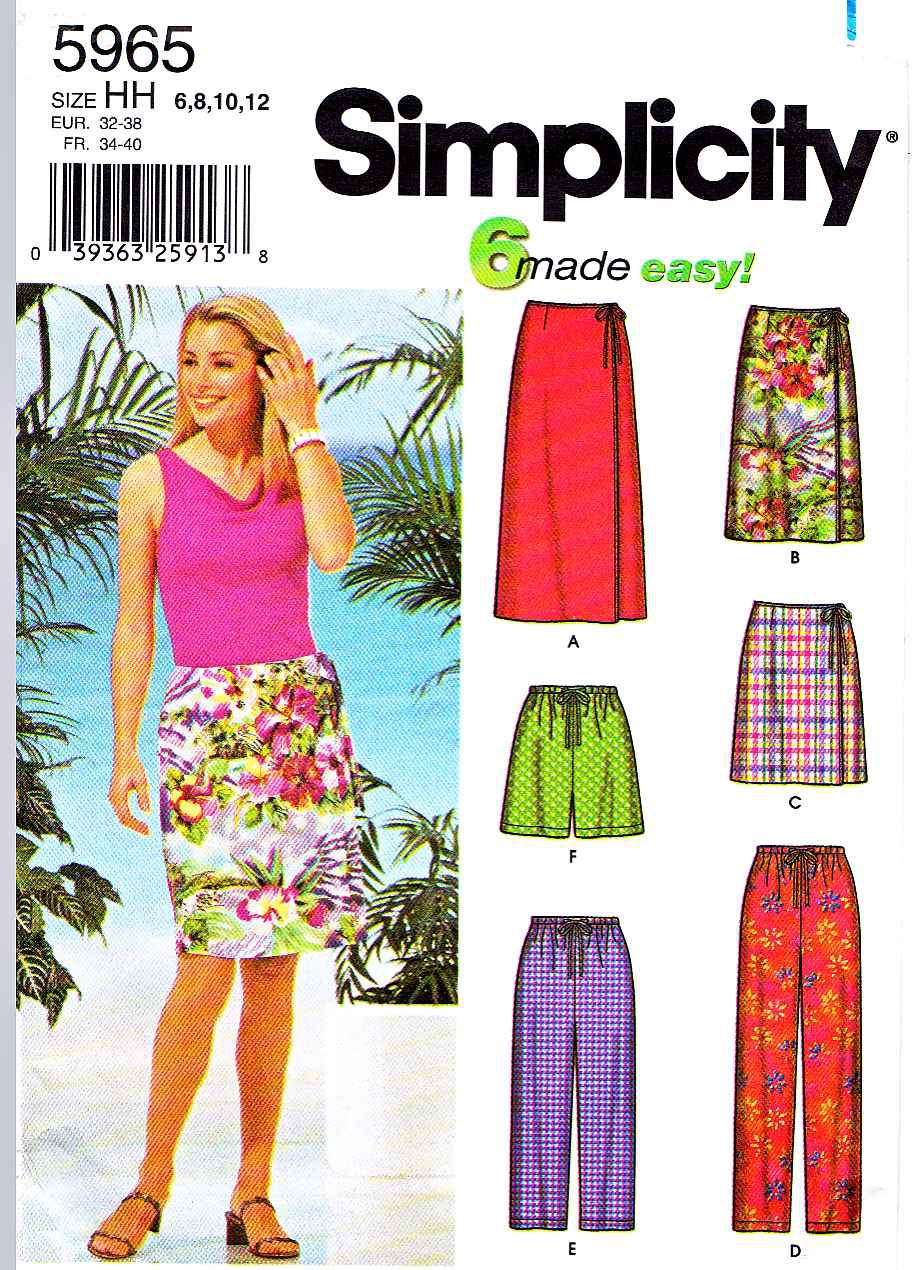 Simplicity Sewing Pattern 5965 Misses Size 6-12 Easy Wrap