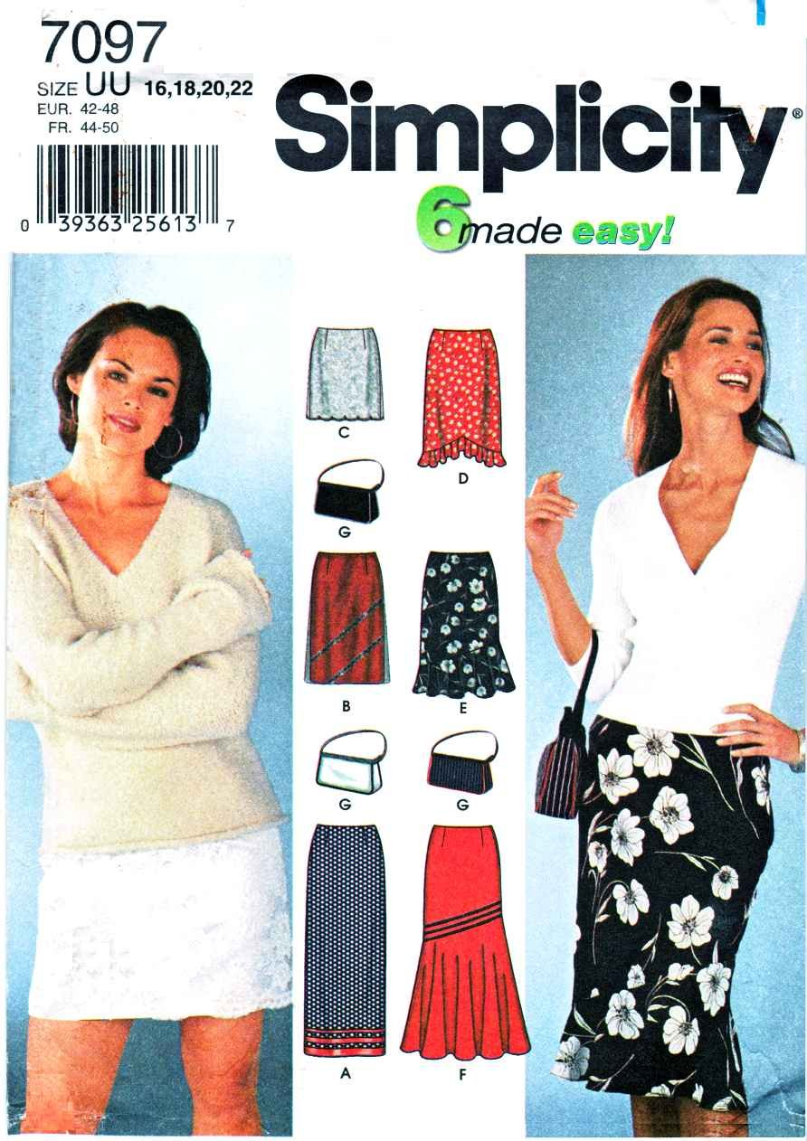 Simplicity Sewing Pattern 7097 Misses Size 16-22 Easy Straight Long Short Skirts Purse