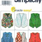 Simplicity Sewing Pattern 7357 Girls Size 8-14 Easy Lined Vests Button Front Option
