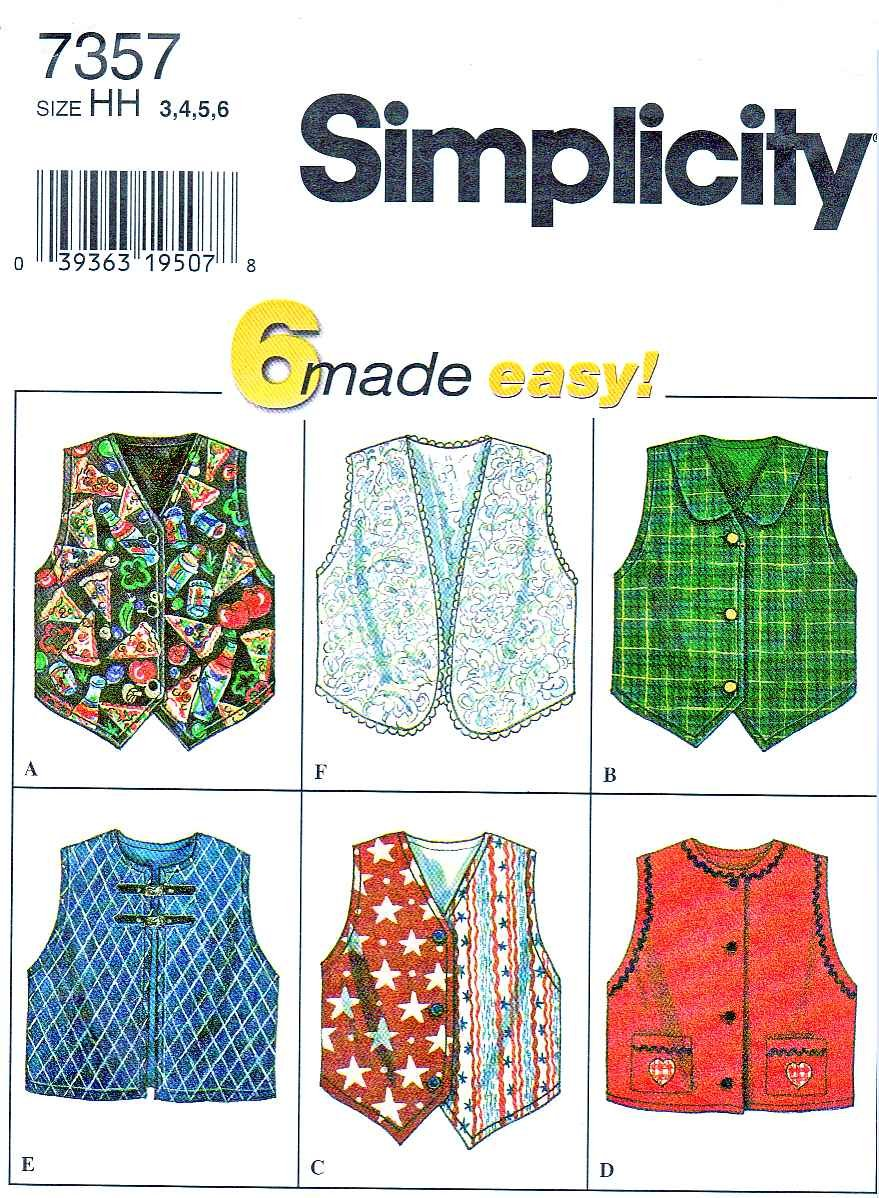 Simplicity Sewing Pattern 7357 Girls Size 3-4-5-6 Easy Lined Vests Button Front Option