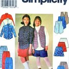 Simplicity Sewing Pattern 7361 Girls Size 12-14 Button Front Shirt Vest Skirt Pants Shorts