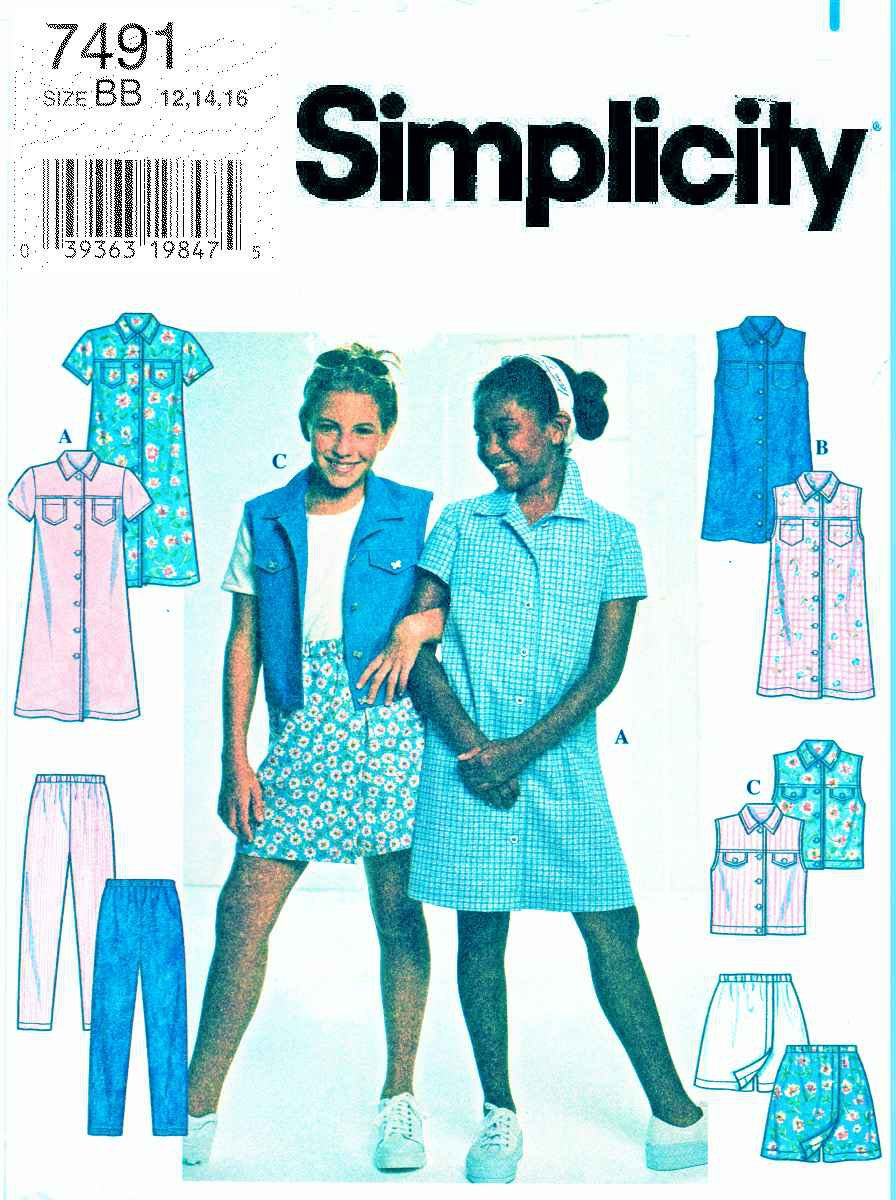 Simplicity Sewing Pattern 7491 Girls Size 12-14-16 Button Front Dress Vest Skorts Pants