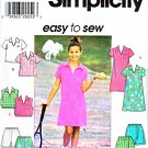 Simplicity Sewing Pattern 7608 Girls Size 7-8-10 Easy Pullover Dress Top Shorts Skorts