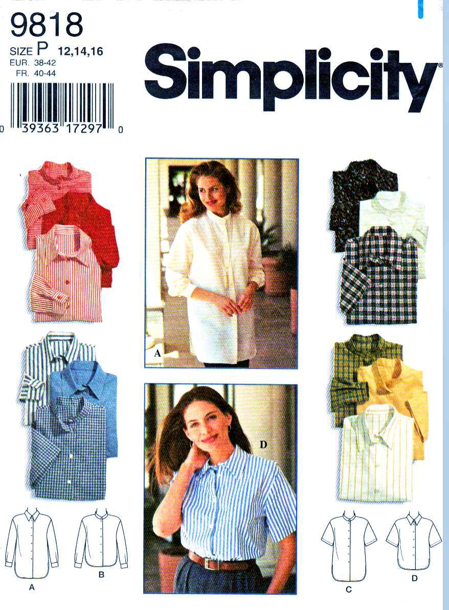 Simplicity Sewing Pattern 9818 Misses Size 12-16 Classic Button Front Long Short Sleeve Shirt