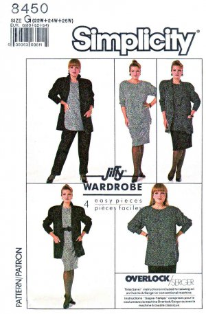 Simplicity Sewing Pattern 8450 Women&#039;s Plus Size 22W-26W Easy Wardrobe Skirt Pants Top Jacket