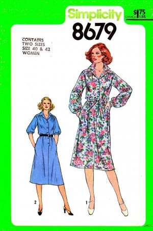 Retro Simplicity Sewing Pattern 8679 Women's Plus Size 22W-24W Pullover Front Bodice Button Dress