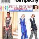 Simplicity Sewing Pattern 9123 Women's Plus Size 18W-24W Button Front Long Vest Jumper Pants