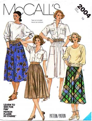 McCall&acirc;s Sewing Pattern 2004 Misses  Size 14 Learn To Sew Classic Gathered Skirt