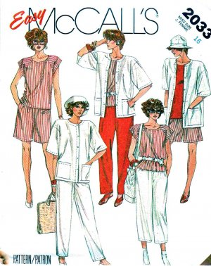 McCall�s Sewing Pattern 2033 Misses� Size 16 Easy Wardrobe Top Jacket Shorts Pants Capris