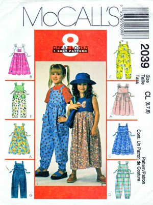 McCall�s Sewing Pattern 2039 Girls Size 6-7-8 Gathered Skirt Pants Jumper Jumpsuit Appliques