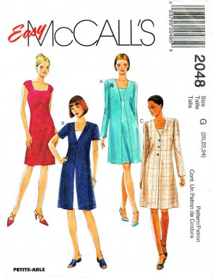McCall�s Sewing Pattern 2048 Misses� Size 20-24 Easy Fitted Dress Button Front Jacket Coat