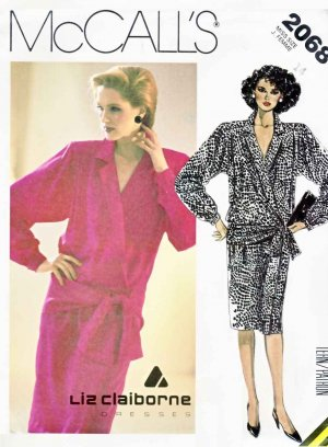 McCall�s Sewing Pattern 2068 Misses� Size 14 Liz Claiborne Long Sleeve Mock Wrap Dress