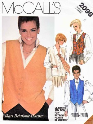 McCall�s Sewing Pattern 2096 Misses� Size 18 Shari Belafonte-Harper Button Front Vests