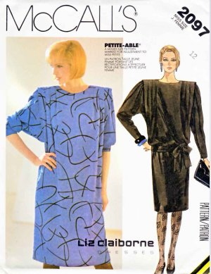 McCall&acirc;s Sewing Pattern 2097 Misses&acirc; Size 12 Liz Claiborne Long Sleeve Straight Dress Sash