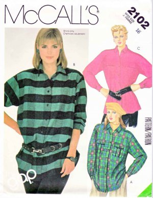 McCall�s Sewing Pattern 2102 Misses� Size 16 Button Front Long Sleeve Shirts Hem Pocket Options