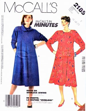 McCall�s Sewing Pattern 2185 Misses Size 16-20 Long Sleeve Knit Flared Dress Cowl Collar