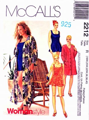 McCall�s Sewing Pattern 2212 Women�s Plus Size 18W-22W Bathing Suit Panties Cover-Up