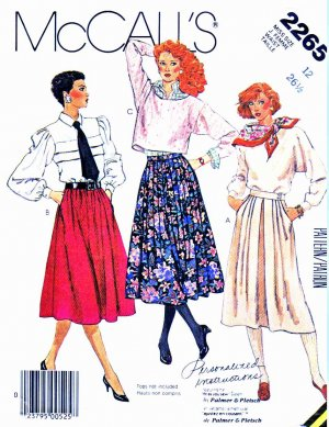 McCall&acirc;s Sewing Pattern 2265 Misses&acirc; Size 12 Gathered Pleated Inset Pocket Opening Skirts