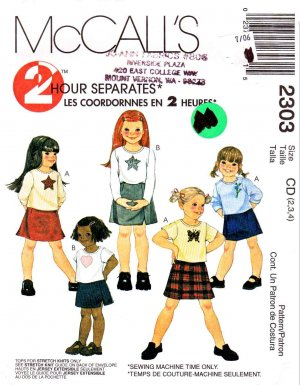 McCall�s Sewing Pattern 2303 Girls' Size 2-3-4 Pullover Knit Short Long Sleeve Top Skirt