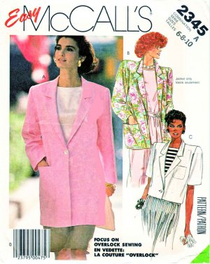 McCall�s Sewing Pattern 2345 Misses Size 6-10 Easy Front Button Long Short Sleeve Unlined Jacket