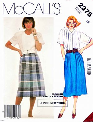 McCall&acirc;s Sewing Pattern 2375 Misses&acirc; Size 12 Classic Button Front Blouses Straight Pleated Skirt