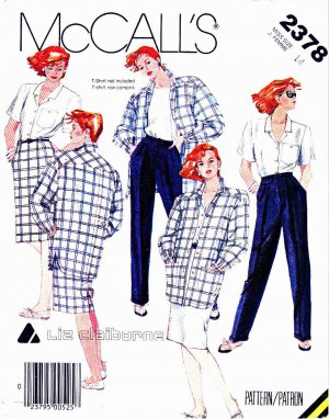 McCall�s Sewing Pattern 2378 Misses� Size 14 Liz Claiborne Wardrobe Jacket Shirt Pants Skirt