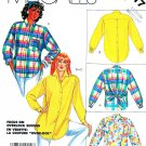 McCalls Sewing Pattern 2417 Misses Size 14-16 Button Front Long Sleeve Blouse Big Shirt