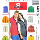 "McCall's Sewing Pattern 2479 Misses Mens Unisex Size 46-52"" Easy Fleece Zipper Front Vest Jacket"