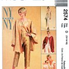 McCall's Sewing Pattern 2574 Misses Sizes 12-16 NYNY Unlined Jacket Top Capri Side Tie Pants