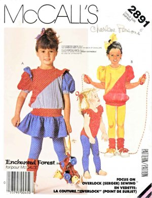 McCall�s Sewing Pattern 2891 Girls Size 6 Knit Dress Top Bodysuit Tights Leg Warmers Leotard